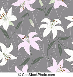 Seamless wallpaper with lily flower