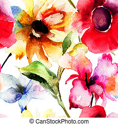 Seamless wallpaper with original flowers, watercolor...