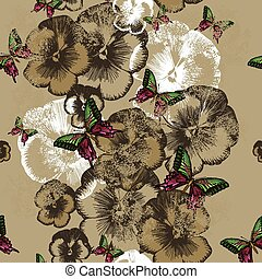 Seamless wallpaper with pansies and butterflies. Vector illustration.