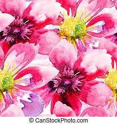 Seamless wallpaper with Pink flowers, watercolor illustration