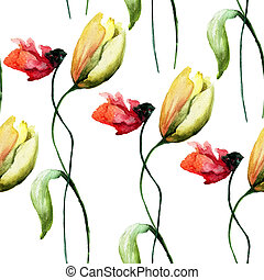 Seamless wallpaper with Poppy and Tulip flowers,