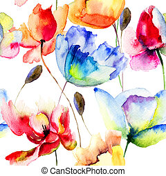 Seamless wallpaper with Poppy and Tulips flowers, watercolor...