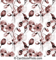 Seamless wallpaper with Poppy and Tulips flowers