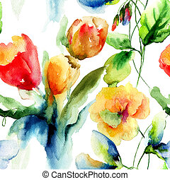 Seamless wallpaper with stylized flowers, watercolor ...