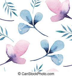 Seamless wallpaper with stylized flowers, watercolor illustratio
