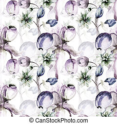 Seamless wallpaper with summer flowers
