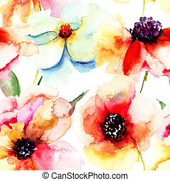 Seamless wallpaper with summer flowers, Watercolor painting