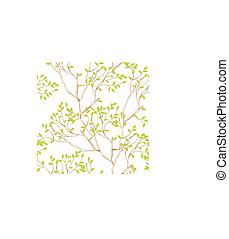 seamless wallpaper with tree branches and green spring foliage