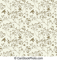 seamless wallpaper with tree branches and bird