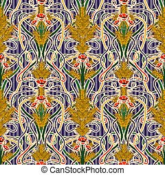 Pattern Poppies Wheat Cornflowers Color Bouquet Of