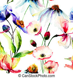 Seamless wallpaper with wild flowers, watercolor ...