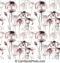 Seamless wallpaper with Yellow Gerber flowers
