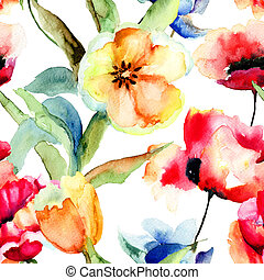 Seamless wallpaper with Yellow Tulips and Poppy flowers