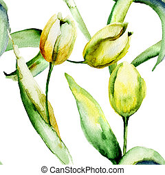Seamless wallpaper with Yellow Tulips flowers
