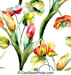 Seamless wallpapers with romantic flowers, watercolor illustration