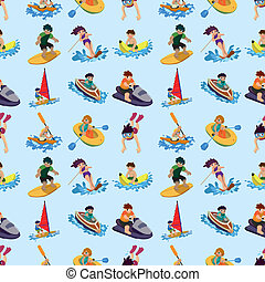 seamless water sport pattern, cartoon vector illustration