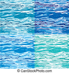 Seamless Blue Water Surface Pattern Variations, editable vector illustration