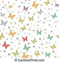 Seamless watercolor butterflies pattern. Vector illustration