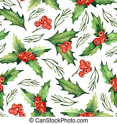 Seamless Watercolor Christmas Pattern