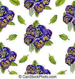 Seamless watercolor pattern of purple pansies.