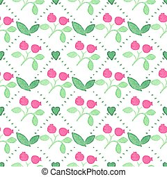 Seamless watercolor pattern with cranberries on the white background, aquarelle.  Vector illustration.