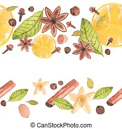 Seamless watercolor pattern with different spices on the white background, aquarelle.  Vector illustration.