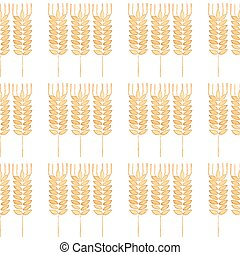 Seamless watercolor pattern with ear of wheat on the white background, aquarelle. Vector illustration.