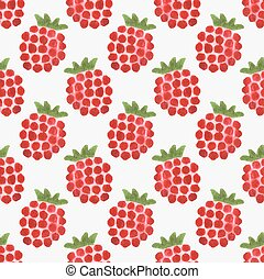 Seamless watercolor pattern with funny raspberries on the...