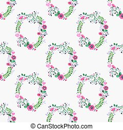 Seamless watercolor pattern with gorgeus flower wreaths on the white background, aquarelle. Vector illustration.