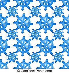 Seamless watercolor pattern with helms on the white background, aquarelle. Vector illustration. Hand-drawn background.
