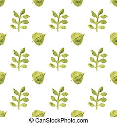 Seamless watercolor pattern with leaves on the white background, aquarelle.  Vector illustration.