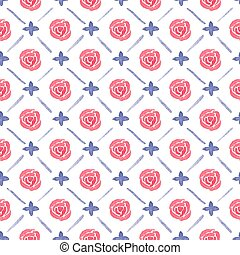 Seamless watercolor pattern with roses on the white background, aquarelle.  Vector illustration.