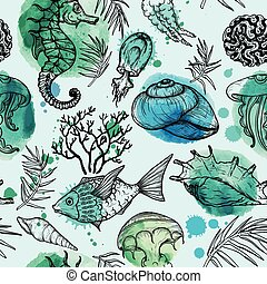 Seamless watercolor pattern with sketch of sea organisms. Hand Drawn background