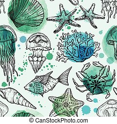 Seamless watercolor pattern with sketch of sea shells, fish, corals and jellyfish. Hand Drawn background