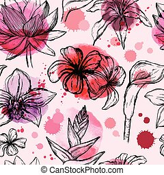 Seamless watercolor pattern with sketch of Tropical flowers - Water lily, orchid, plumeria, frangipani and hibiscus