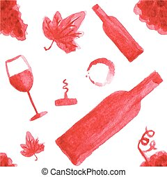 Seamless watercolor pattern with wine stuff on the white background, aquarelle.  Vector illustration. Hand-drawn background.