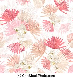 Seamless watercolor tropic floral pattern, pastel dry palm leaves, boho tropical flower, orchid