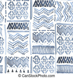 Seamless watercolour ethnic ornate blue on white for fabric,...