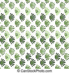 Seamless watercolour tile order floral pattern green on white