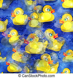 Seamless Watercolour Yellow Ducks Design