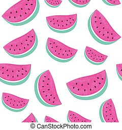 Seamless Watermelon Pattern isolated on white background.