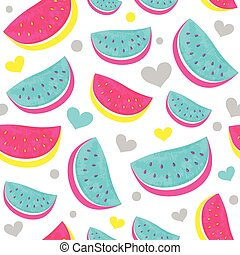 Seamless Watermelon Pattern with hearts isolated on white.