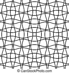 Seamless wave crossing weave pattern. Abstract geometric grid mesh background.