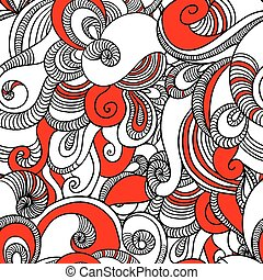 Seamless wave hand drawn pattern.