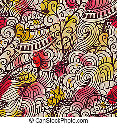 Seamless wave hand-drawn pattern. Watercolor vector seamless pattern.Can be used for wallpaper, pattern fills, web page background,surface textures. Gorgeous seamless wave background