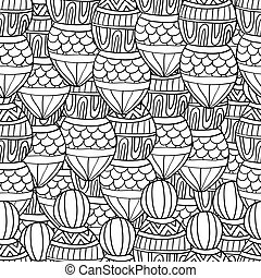 Seamless wave hand drawn pattern, waves background