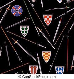 Seamless background different weapons of the Middle Ages (spears, swords, shields).