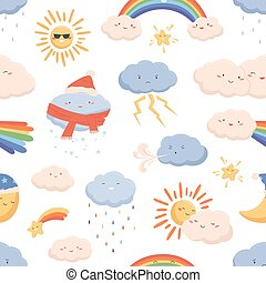 Seamless weather pattern with cute smiling faces of sun, rainbow, moon, snowing and raining clouds. Funny kids characters on endless background. Colorful vector illustration in flat cartoon style