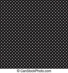 seamless, weißes, polka- punkte, auf, schwarz