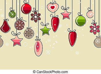 seamless, weihnachten, muster, mit, hängender , dekoration